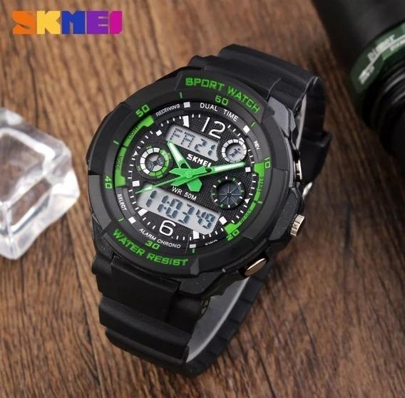 Relógio Masculino Infantil Skmei 1060 Original Preto E Verde