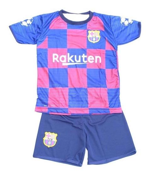 Conjunto Uniforme Infantil Barcelona Messi Short & Camisa
