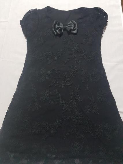 Delicado Vestido De Niña Similar A Encaje, Color Negro