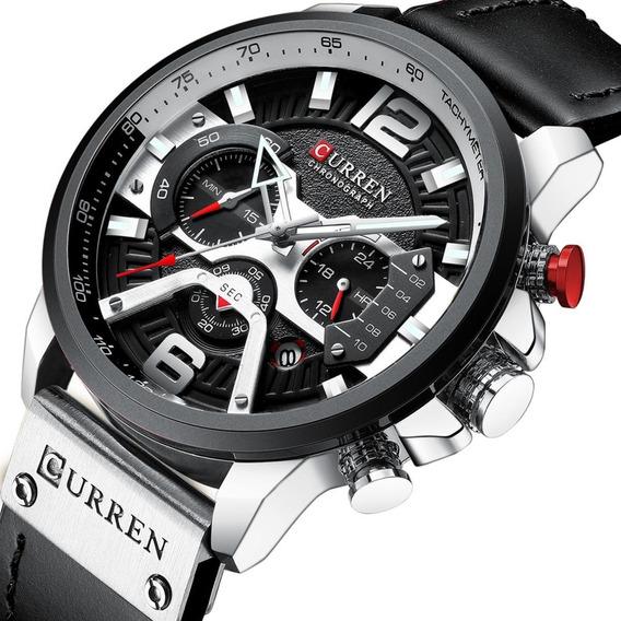 Relógio Masculino Curren 8329 Luxo Couro Social Frete Grátis