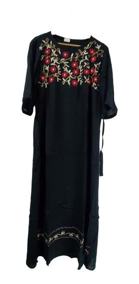 Vestido Indiano Viscose Bordado Preto