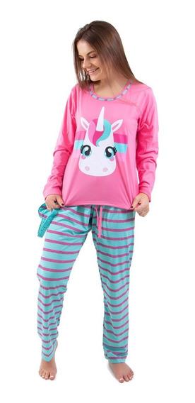 Pijama Adulto Unicórnio Longo Feminino + Tapa Olho Brinde
