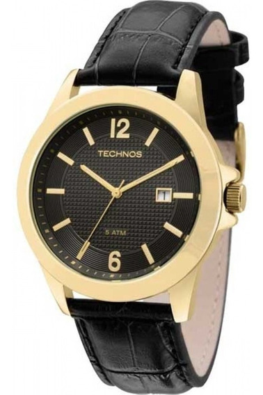 Relógio Masculino Technos De Couro 2115kno/2p Preto Dourado