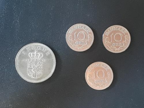 Monedas Antiguas De Dinamarca 1 Krone-10 Ores 1961-1970