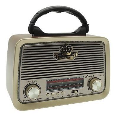 Radio Retro Estilo Vintage Fm Am Usb Sd Mp3 Recarregavel