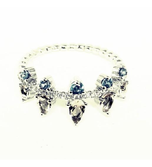 Anel Cristal Prata Estilo Coroa Aro 14 Pronta Entrega