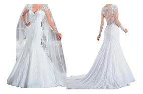 Nb72 Vestido Noiva Sereia Barato Promoção Bordado Véu