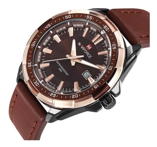 Naviforce 9056 Reloj Cuarzo Hombre Lujo Casual Correa Cuero