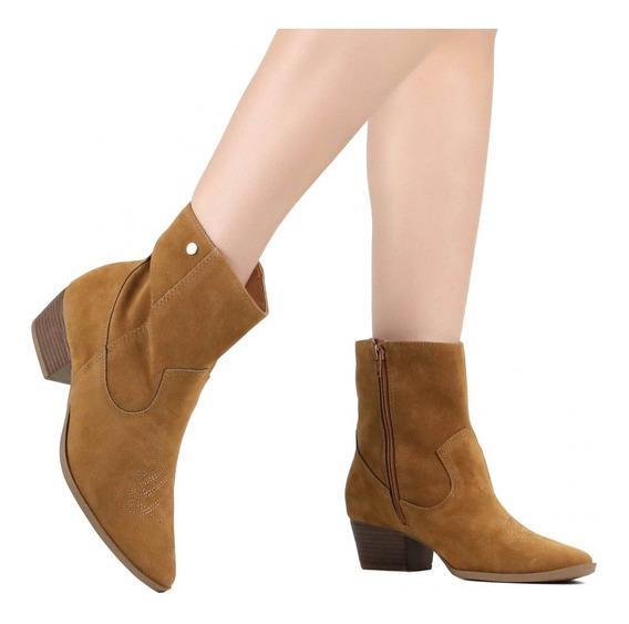 Bota Feminina Ankle Boot Via Marte Cano Curto Marrom 19-5402