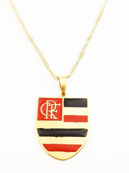 Pingente Flamengo + Corrente Cordão Folheado Ouro. C1p772