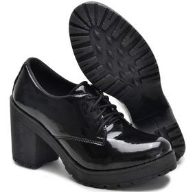 Sapato Oxford Feminino Tratorado Verniz 2019 Promoção