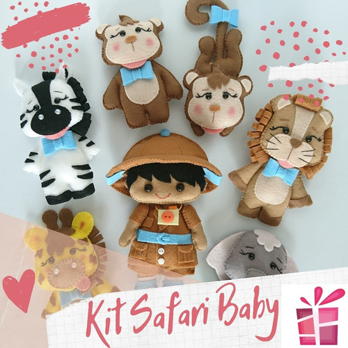 Kit Safari Baby Em Feltro (valor Referente A 7 Unidades)