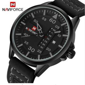 Relógio Masculino Naviforce 9074 Pulseira Em Couro Com Caixa