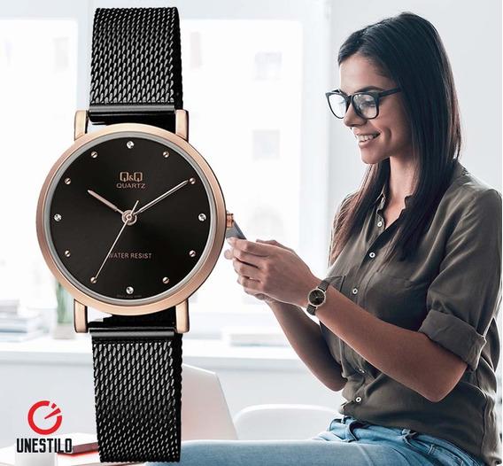 Reloj Q&q Mujer Pulsera Malla Acero Casual Original Caja Q