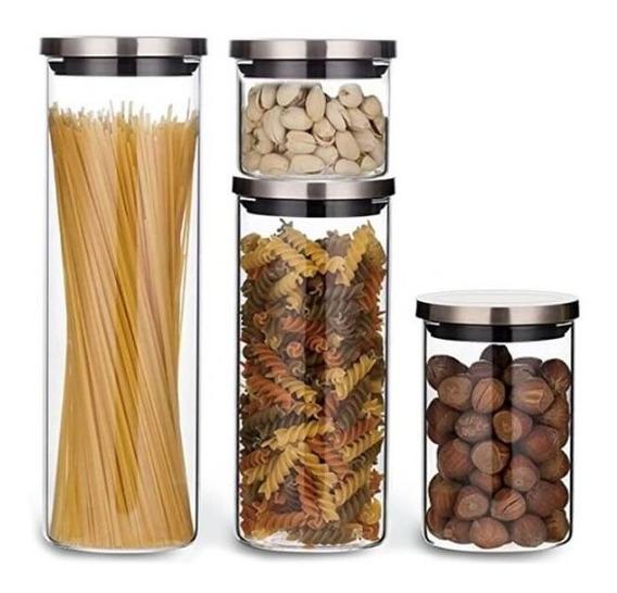 Kit Potes De Vidro Herméticos Tampa Inox 4 Unid Electrolux