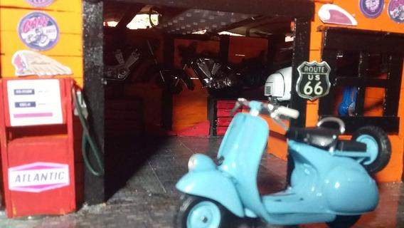 Diorama Oficina De Motos Escala 1/24 A 1/18 Com Led