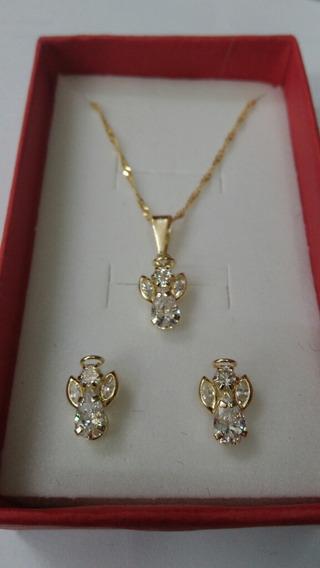 Cadena Con Dije Y Aretes De Angelitos Oro 10k De 50cm Largo