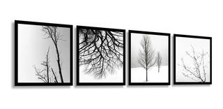 Quadro Decorativo Flores Árvores Preto E Branco 04 Peças