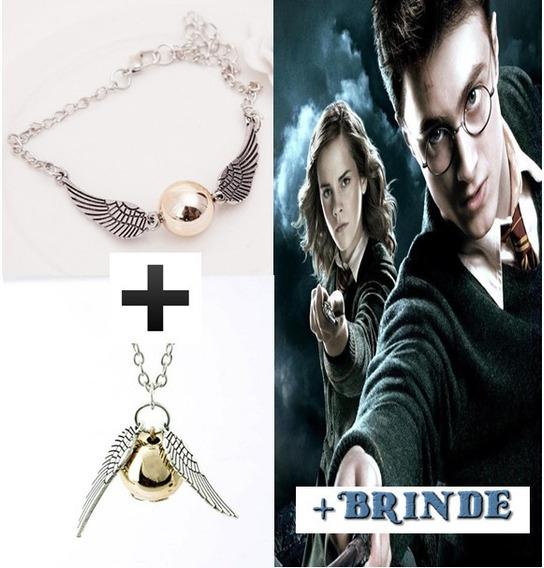 Kit Colar Pomo De Ouro +pulseira Saga Harry Potter+2 Brindes