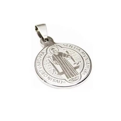 Mini Medalla San Benito Acero Inoxidable Platedo Religion