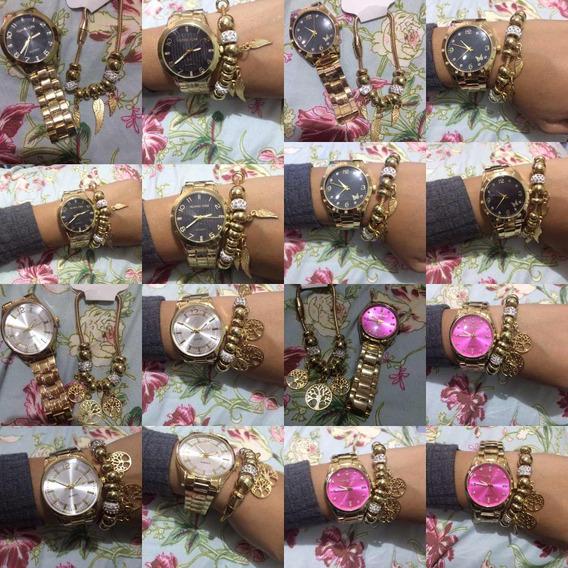 Kit 10 Relógios Femininos Com Pulseira