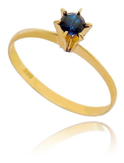 Anel De Noivado Em Pedra Safira Zircônia - Ouro 18 K / 750
