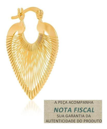 Brinco Argola Rommanel Coração Fios Que Ouro  523025