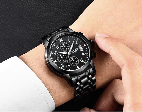 Relógio Lige 9825 Cronógrafo Original Importado C. Garantia