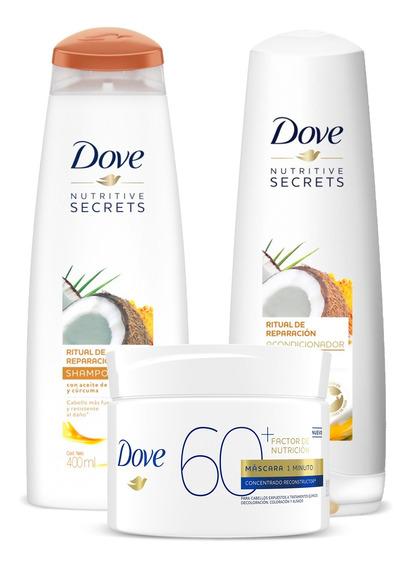 Combo Hair Dove Shampoo + Acondicionador + Máscara Ritual
