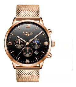 Relógio Masculino Lige Dourado Militar Original Top