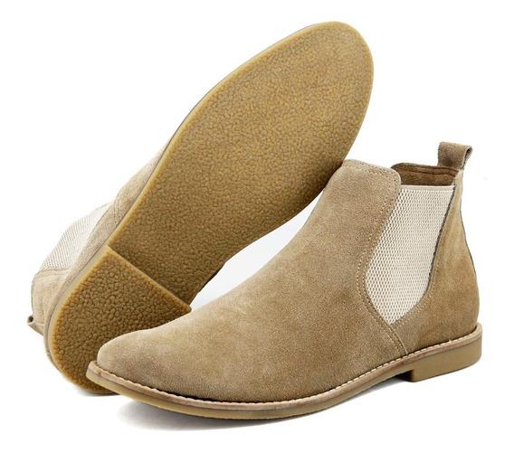 Botina Chelsea Boots Areia Em Couro Camurça 502-em Estoque