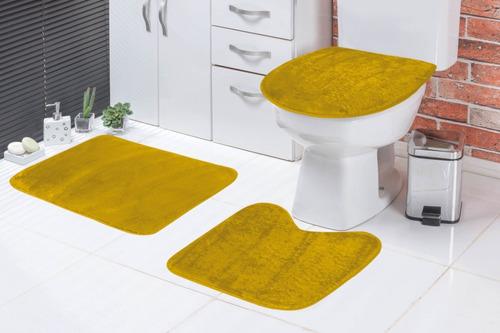 Jogo De Banheiro Liso Pelúcia 3 Peças Melhor Preço