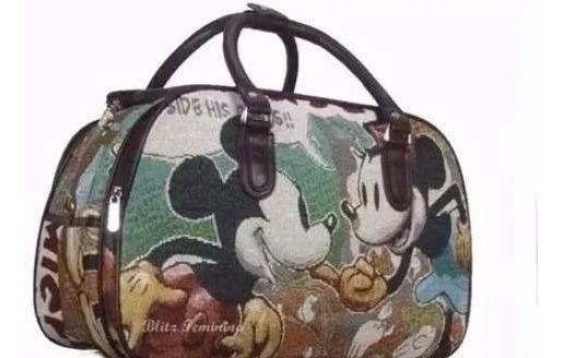 Mala Bolsa Mão Mickey Colorido Viagem Passeio Cores