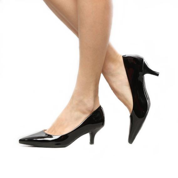 Sapato Scarpin Social Salto Médio 6,5 Cm Preto Sintético 9 Variações De Cores Numeração 33 Ao 39 Pronto Entrega 2019