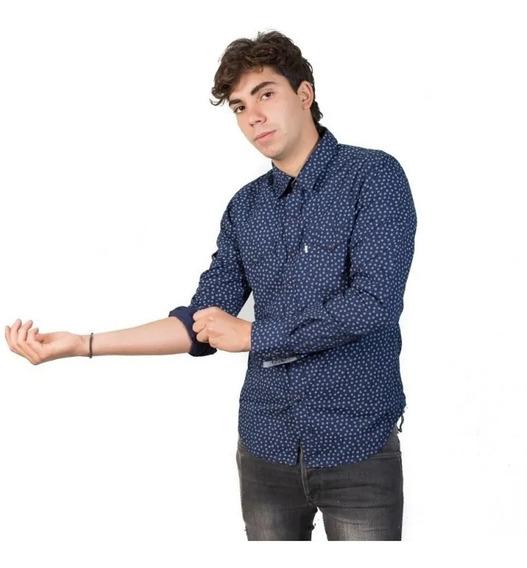 Camisa Hombre Slim Classic Western Azul (del S Al Xxl)