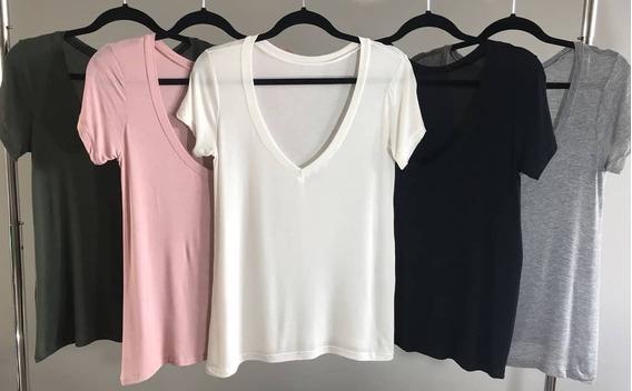 Blusas Femininas Básica Decote V Slim Fit