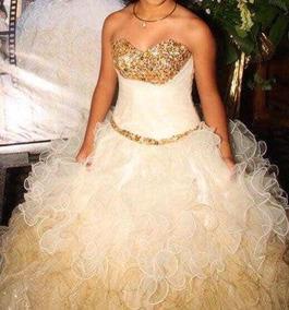 Vestido De Xv Años Dorado Con Beige