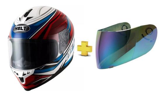 Capacete Helt New Race Step Azul Vermelho + Viseira