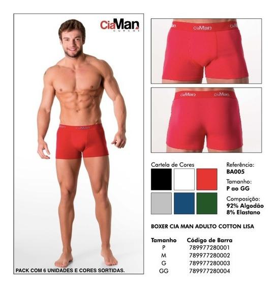 Kit Cueca Boxer Cia Man Adulta Coton Liso C/6 - Sem Juros