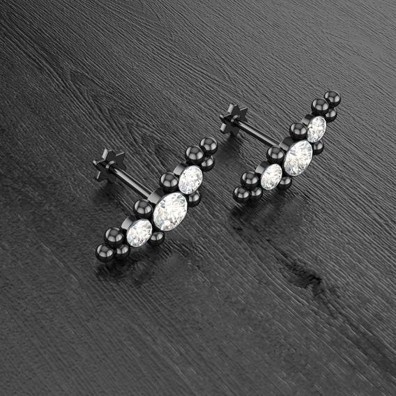 (1 Peça) Piercing Labret Cluster Titânio 6mm Tragus Helix
