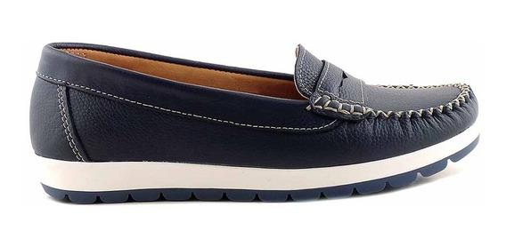 Mocasín Mujer Cuero Briganti Zapato Promo Azul - Mcmo03587