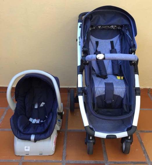 Carrinho De Bebê Dzieco Maly Azul Jeans + Bebê Conforto