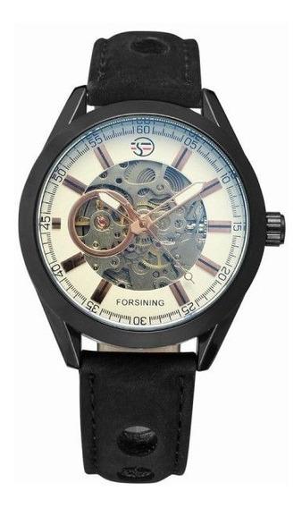 Relógio Forsining Pulseira Couro Analóg Esqueleto Automático