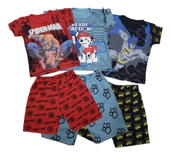 Kit 5 Conjunto Infantil Masculino Pijama Personagens