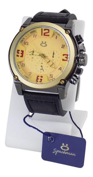 Relógio Masculino Dourado Original Couro