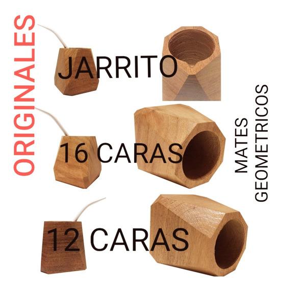 10 Mates Geométricos Lisos Algarrobo Mas 10 Bombillas Color