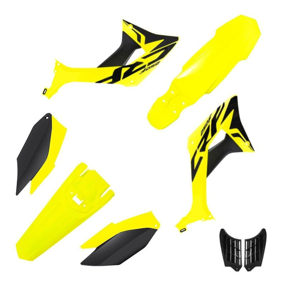 Kit Plástico Biker Evo Crf 250f Com Adesivos Amarelo Neon / Preto