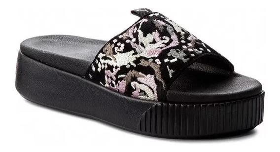 Sandalias Puma Platform Slide Digtl Mujer Black Cuero/gamuza