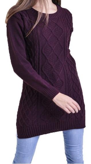Sweater Largo Cuello Redondo De Mujer Mauro Sergio