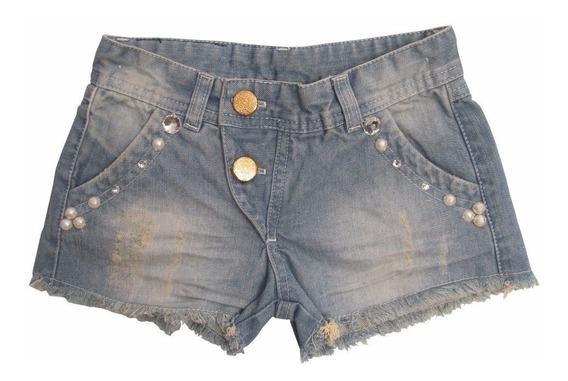 Shorts Jeans Infantil Bordado Pérolas E Strass - Maria Mole